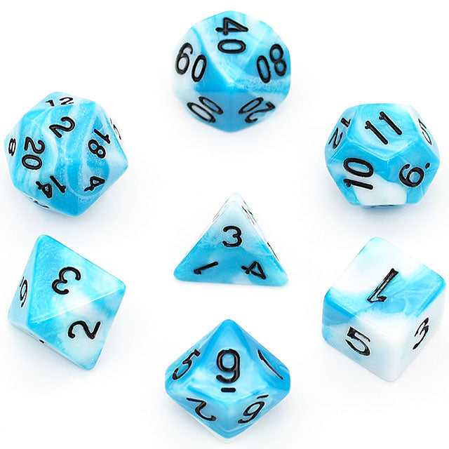 Udixi: Sky Blue-white Blend Dice