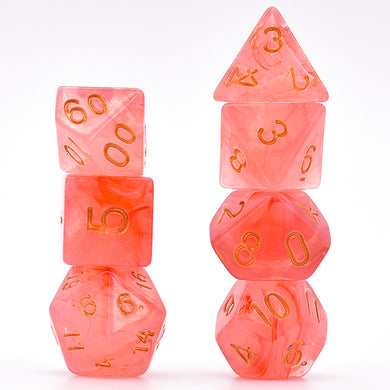 Udixi: Red Brushed Silk Translucent Dice Series