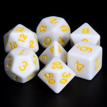 Load image into Gallery viewer, White Opaque dice (Yellow font)