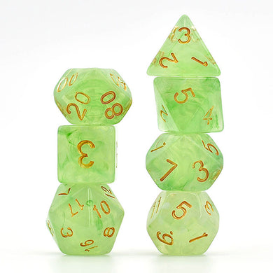 Udixi: Green Brushed Silk Translucent Dice