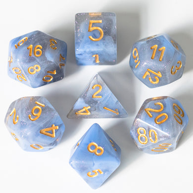 Udixi: Blue & Grey Blend Galaxy Dice (Gold font)