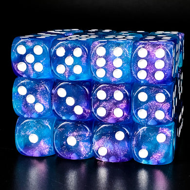 Udixi: Purple & Blue 16mm Pip Glitter Dice (single)