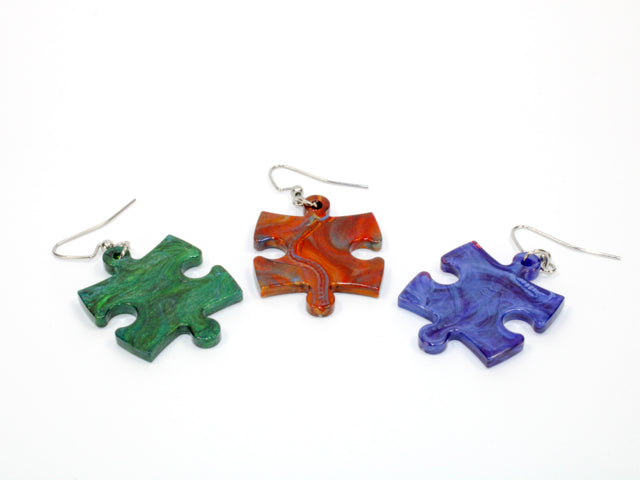 Earrings Scarab Puzzle Piece Pair (Assorted Dice Colours)