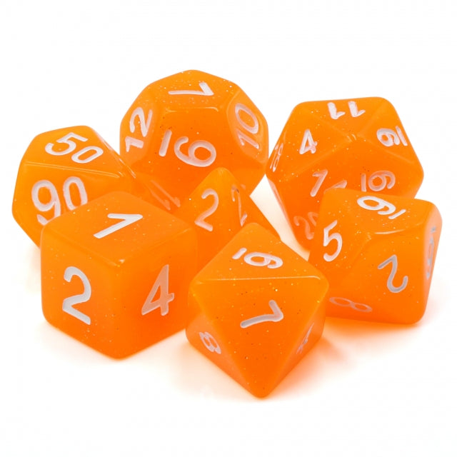 Udixi: Orange Translucent Glitter Dice