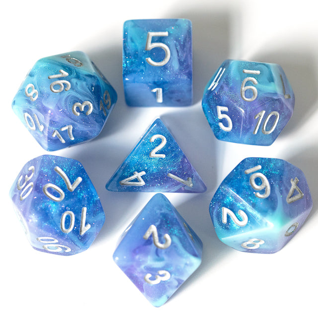 Udixi: Purple & Blue & Cyan Galaxy Glitter Dice (Silver Numbers)
