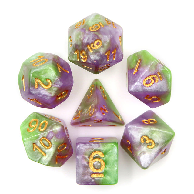 HD Dice: Purple, Green, White Marble Dice