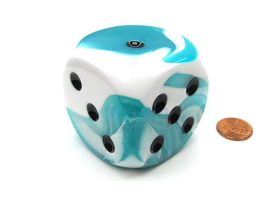 Single D6 50mm w/pips Gemini Teal-White/Black