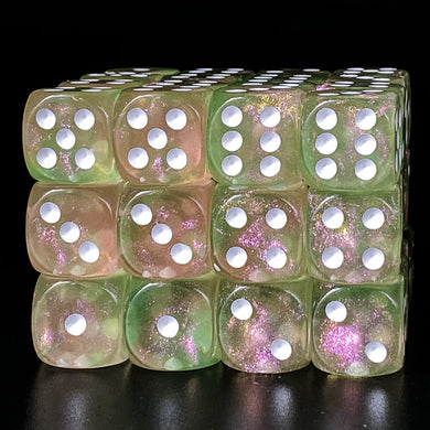 Udixi: Pink & Green (white number) 16mm Pip Glitter Dice