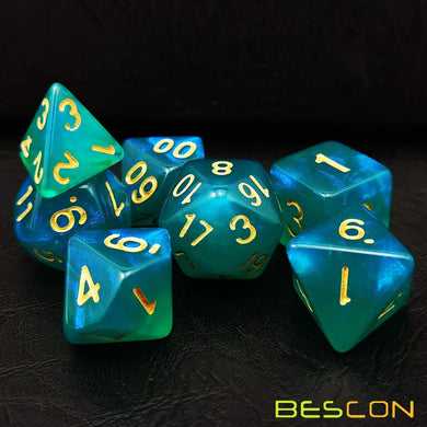 Bescon Dice: Peacock Blue Moonstone