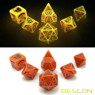 Bescon Dice: Halloween 7 Dice Set Glow in the Dark