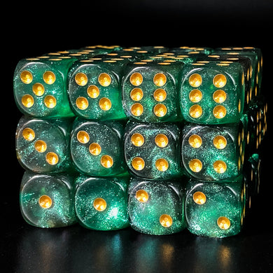 Udixi: Green & Grey 16mm Pip Glitter Dice (Single)