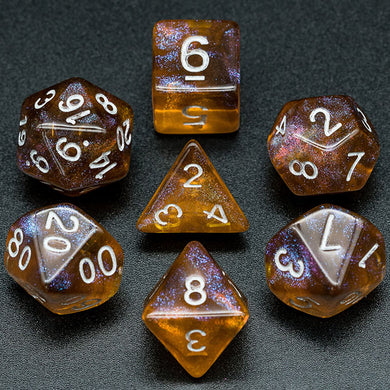Udixi: Grey & Orange Glitter Dice (Silver font)