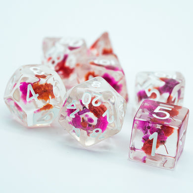 Udixi: Purple & Orange w/White Flower Dice