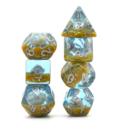 Udixi: Conch Dice - Blue with Gold Sand