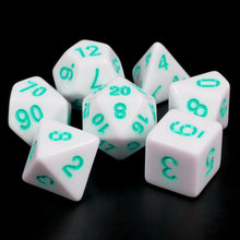 Load image into Gallery viewer, White Opaque dice (Teal font)