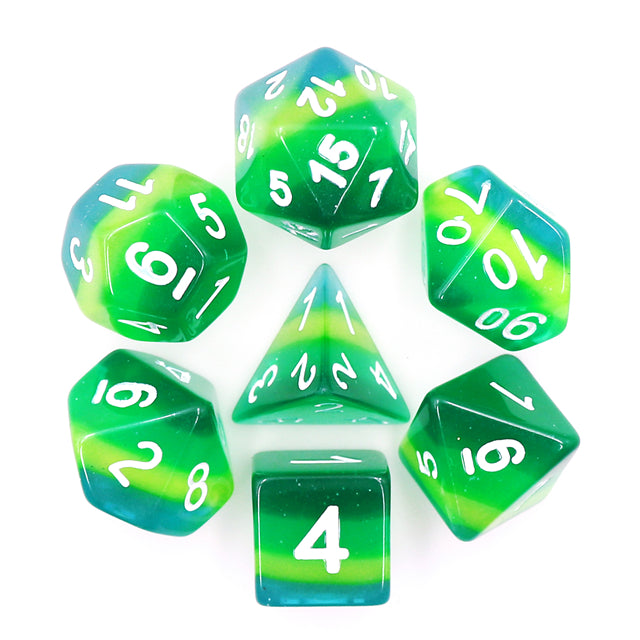 HD Dice: Green Translucent Layered Dice