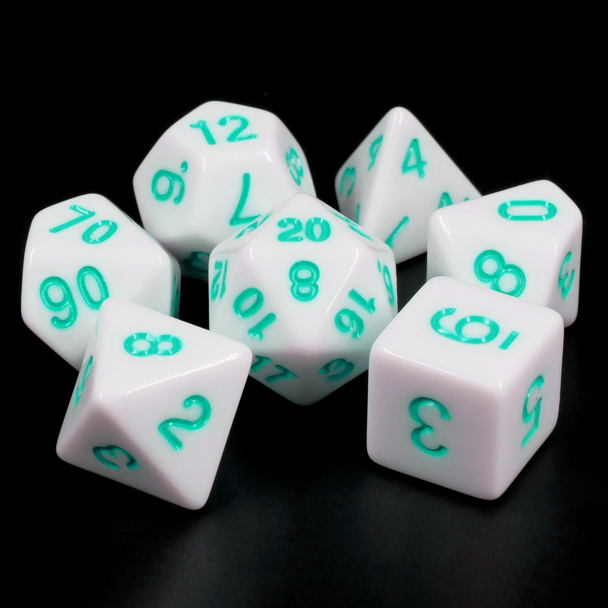 White Opaque dice (Teal font)