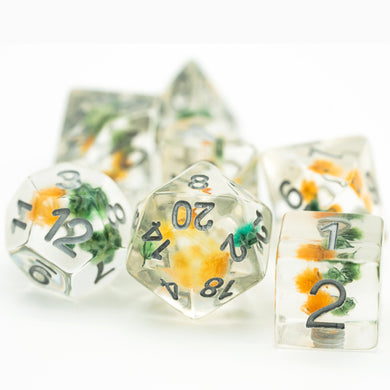 Udixi: Yellow & Green w/Silver Flower Dice