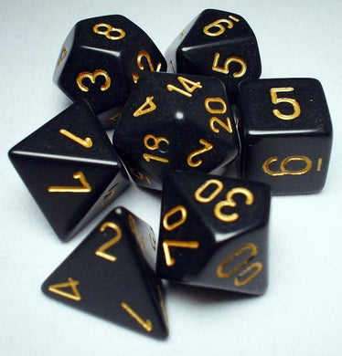 CHX25428: Black/Gold Opaque Polyhedral 7-Die Set