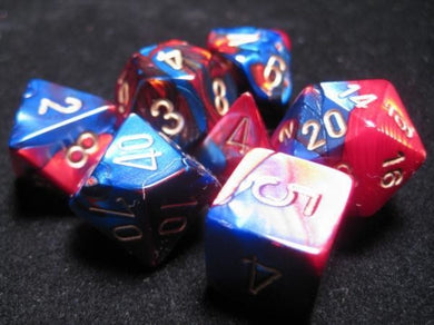 CHX26429: Blue-Red/Gold Gemini Polyhedral 7-Die Set