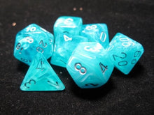 Load image into Gallery viewer, CHX27465: Aqua/Silver Cirrus Polyhedral 7-Die Set