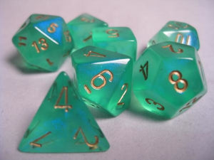 CHX27425: Light Green/Gold Borealis Polyhedral 7-Die Set