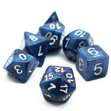 Udixi: Blue-Green Galaxy Glitter Dice