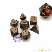 Load image into Gallery viewer, Bescon Dice: Mini Metal Antique Copper Polyhedral Set