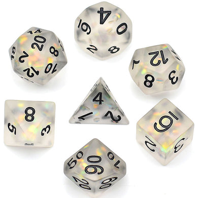 Udixi: Frosted Mermaid Dice wth Black Font