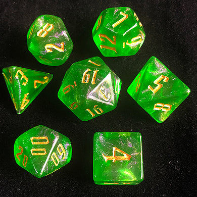 Udixi: Glass Green Glitter Dice (Gold font)