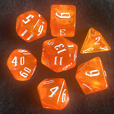 Udixi: Orange Glitter Dice (White font)