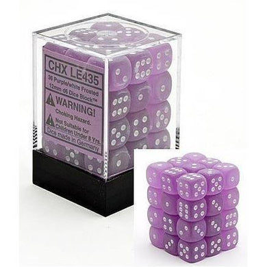 CHXLE435: Frosted Purple/White 12mm d6 (36) dice set