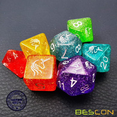 Bescon Dice: Unicorn Rainbow Sparkle Set