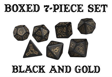 Divination Dice: Black with Gold Dice Set