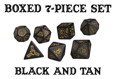 Divination Dice: Black with Tan Dice Set
