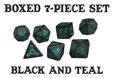 Divination Dice: Black with Teal Dice Set