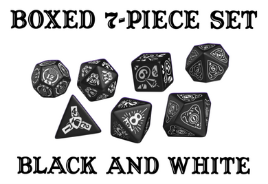 Divination Dice: Black with White Dice Set