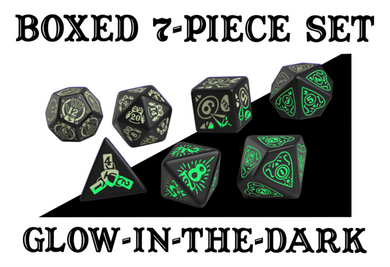 Divination Dice: Black with Glow in the Dark Dice Set