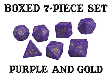 Divination Dice: Purple with Gold Dice Set