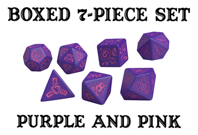 Divination Dice: Purple with Pink Dice Set
