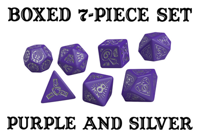 Divination Dice: Purple with Silver Dice Set