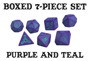 Divination Dice: Purple with Teal Dice Set