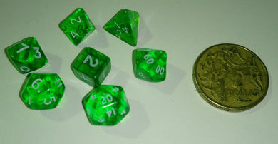 CHX23055: Miniature Translucent Green/White Polyhedral 7-Die Set