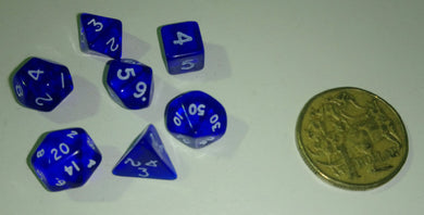 CHX23056: Miniature Translucent Blue/White Polyhedral 7-Die Set