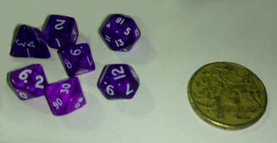 CHX23057: Miniature Translucent Purple/White Polyhedral 7-Die Set