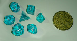 CHX23065: Miniature Translucent Teal/White Polyhedral 7-Die Set
