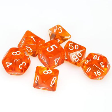 CHX23073: Orange/white Translucent Polyhedral 7-Die Set