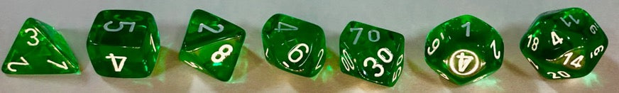 CHX23075: Translucent Green/White Polyhedral 7-Die Set