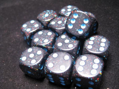 CHX25738: Blue Stars Speckled 16mm d6 (12 block) Dice Set
