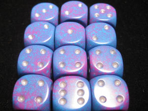 CHX25747: Silver Tetra Speckled 16mm d6 (12 block) Dice Set